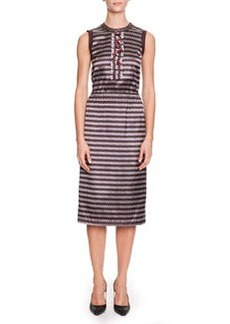 Bottega Veneta Optical Silk Jacquard Sheath Dress, Aubergine/Black