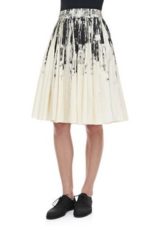 Bottega Veneta Pleated Printed Cotton Skirt, White/Black