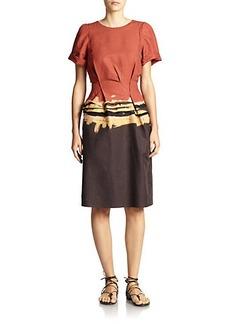 Bottega Veneta Printed Pleat-Waist Dress