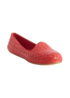 Bottega Veneta red intrecciato leather loafers