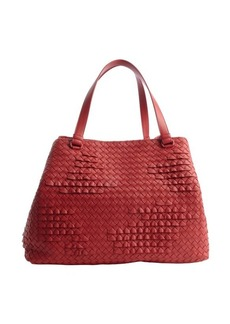 Bottega Veneta red intrecciato leather 'Poussin' tote
