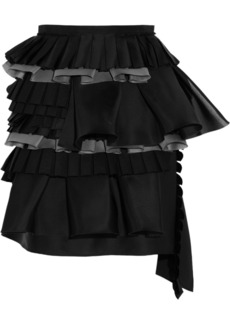 Bottega Veneta Ruffled silk and cotton-blend mini skirt
