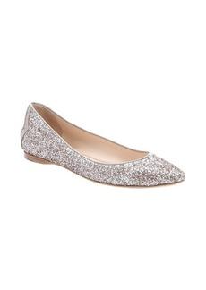 Bottega Veneta sand leather trimmed glitter fabric ballerina flats
