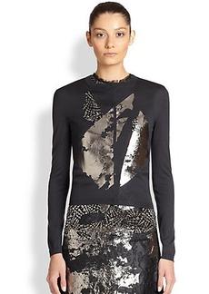 Bottega Veneta Silk & Lace Foil-Printed Cardigan