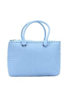 Bottega Veneta sky blue intrecciato leather large top handle bag