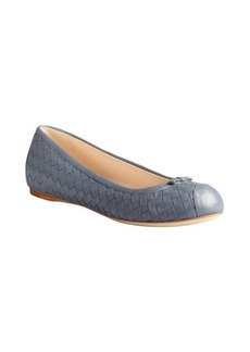 Bottega Veneta slate blue intrecciato leather bow detail flats