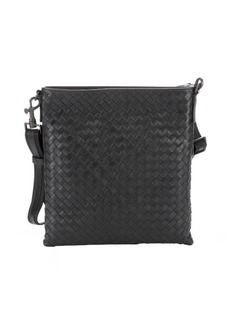 Bottega Veneta slate intrecciato leather flap messenger bag