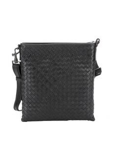 Bottega Veneta slate intrecciato leather flat messenger bag