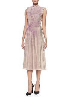 Bottega Veneta Sleeveless Painted Plisse Dress