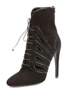 Bottega Veneta Suede Lace-Up Ankle Boot, Nero