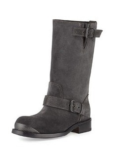 Bottega Veneta Suede Mid-Calf Buckle Boot, Gray