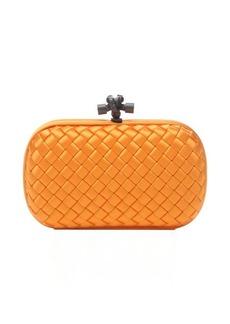 Bottega Veneta sun orange intrecciato satin 'Knot' clutch