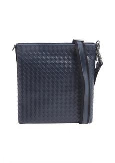 Bottega Veneta tourmaline intrecciato leather flap messenger bag