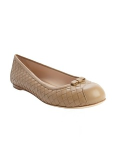 Bottega Veneta walnut intrecciato leather bow detail flats