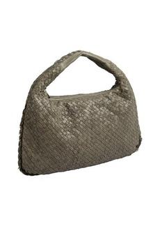 Bottega Veneta warm grey velvet and intrecciato leather large hobo