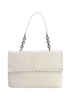 Bottega Veneta white mist intrecciato leather shoulder bag