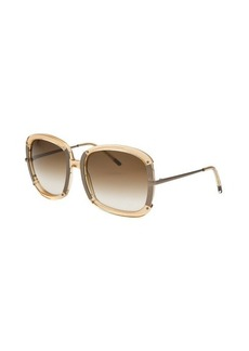 Bottega Veneta Women's Square Translucent Tan Sunglasses