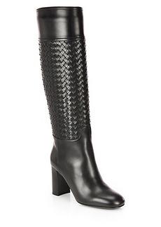 Bottega Veneta Woven Leather Knee-High Boots