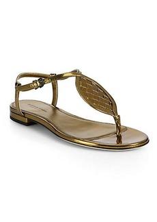 Bottega Veneta Woven Metallic Leather Sandals