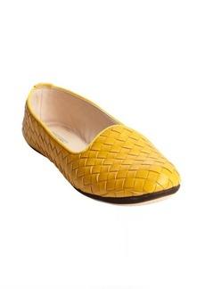 Bottega Veneta yellow intrecciato leather slip on flats