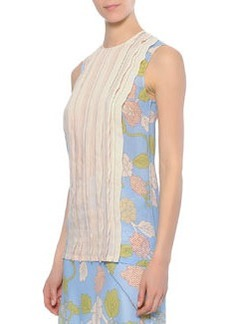 Floral-Printed/Sheer Pleated-Front Blouse   Floral-Printed/Sheer Pleated-Front Blouse