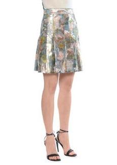 Metallic Tulip-Print Pleated Skirt   Metallic Tulip-Print Pleated Skirt