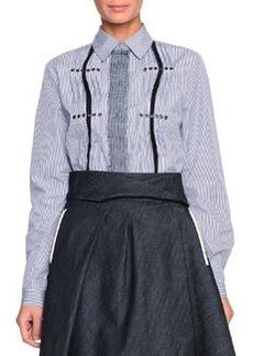 Pinstripe Grommet-Detailed Blouse, White/Blue   Pinstripe Grommet-Detailed Blouse, White/Blue