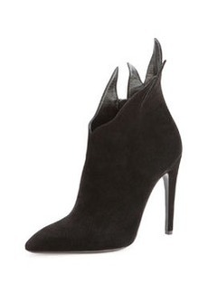 Suede Chrysanthemum Ankle Boot, Nero   Suede Chrysanthemum Ankle Boot, Nero