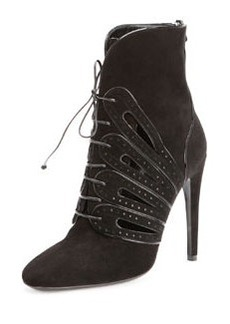 Suede Lace-Up Ankle Boot, Nero   Suede Lace-Up Ankle Boot, Nero