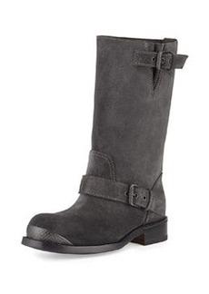 Suede Mid-Calf Buckle Boot, Gray   Suede Mid-Calf Buckle Boot, Gray