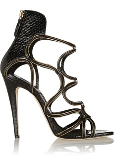 Brian Atwood Chain-trimmed elaphe and suede sandals