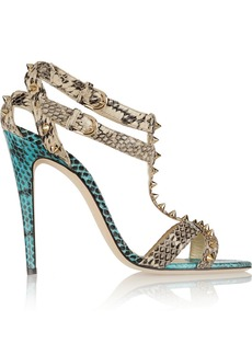 Brian Atwood Gaelle studded snake-effect leather sandals