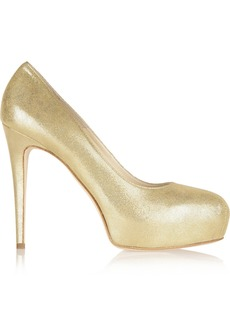 Brian Atwood Jewel Glace metallic suede pumps