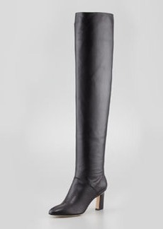 Brian Atwood Leather Almond-Toe Over-the-Knee Boot, Black