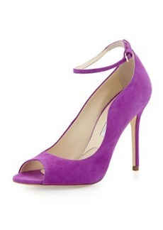 Brian Atwood Open-Toe Ankle-Wrap Suede Pump, Purple