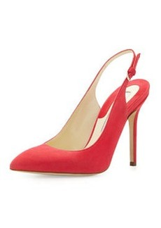 Brian Atwood Suede Pointed-Toe Slingback Pump, Pink