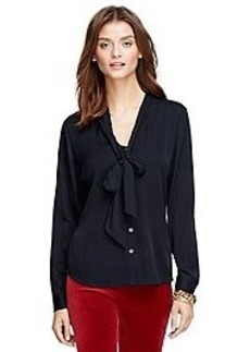Bow-Front Silk Blouse