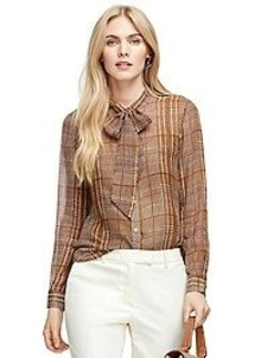 Bow-Front Silk Plaid Blouse