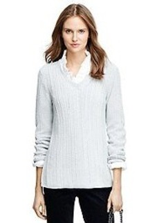 Cable V-Neck Tunic Sweater