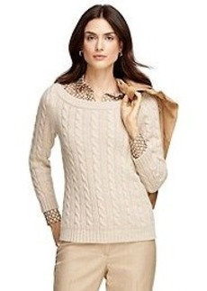 Cashmere Cable Boatneck Sweater