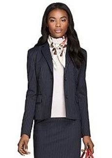 Classic Fit Two-Button Wool Pinstripe Jacket