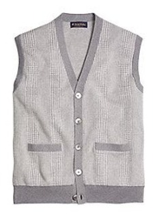 Cotton Cashmere Glen Plaid Vest
