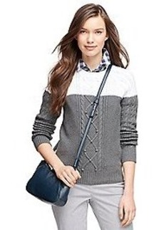 Cotton Color-Block Cable Crewneck Sweater