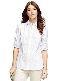 Cotton Pleated Dress Shirt