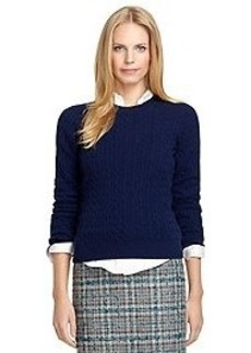 Crewneck Cable Knit Cashmere Sweater