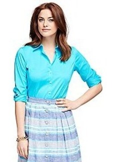 Fitted Three-Quarter Sleeve Cotton Dress Shirt