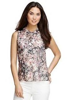 Floral Sleeveless Silk Blouse