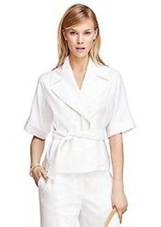 Linen Blend Short-Sleeve Belted Jacket
