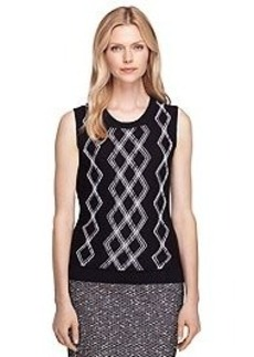 Merino Wool Sleeveless Argyle Shell