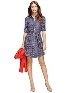 Non-Iron Cotton Sailboat Print Shirt Dress